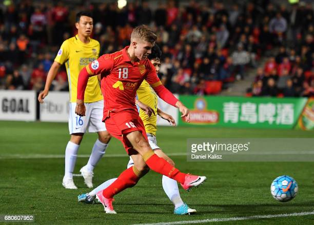 Riley McGree of United takes a shot on goal during the AFC Champions League match between Adelaide United and Jiangsu Sainty at Hindmarsh Stadium on...