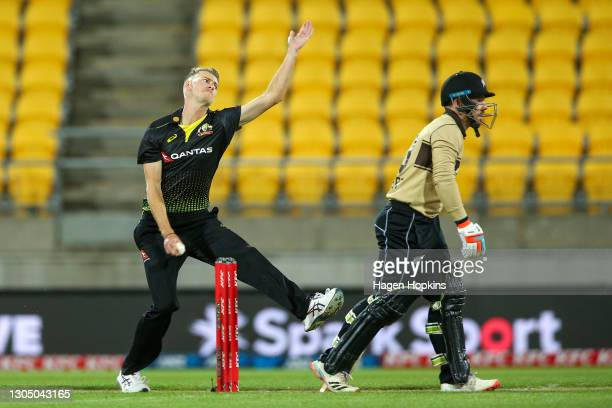 Riley Meredith of Australia bowls during game three of the International T20 series between New Zealand Blackcaps and Australia at Sky Stadium on...