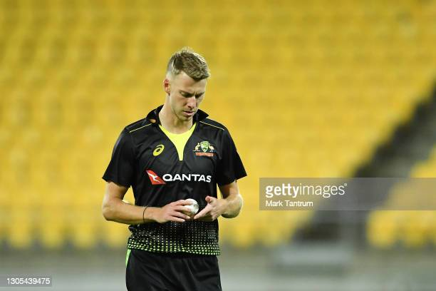 Riley Meredith of Australia during game four of the International T20 series between New Zealand Blackcaps and Australia at Sky Stadium on March 05,...