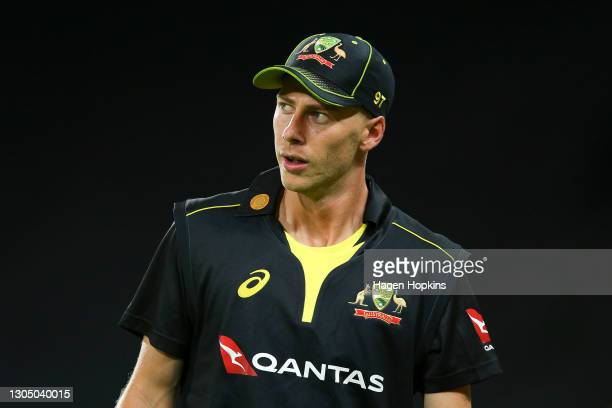 Riley Meredith of Australia looks on during game three of the International T20 series between New Zealand Blackcaps and Australia at Sky Stadium on...