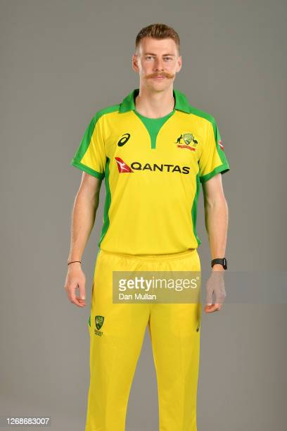 Riley Meredith of Australia poses for a portrait during the Australia Cricket Portrait Session at The County Ground on August 25, 2020 in Derby,...