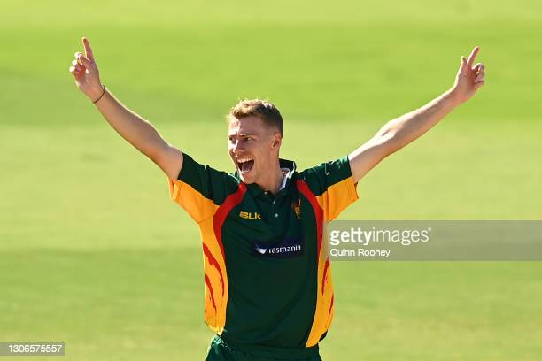 Riley Meredith of Tasmania appeals for a wicket during the Marsh One Day Cup match between South Australia and Tasmania at CitiPower Centre on March...