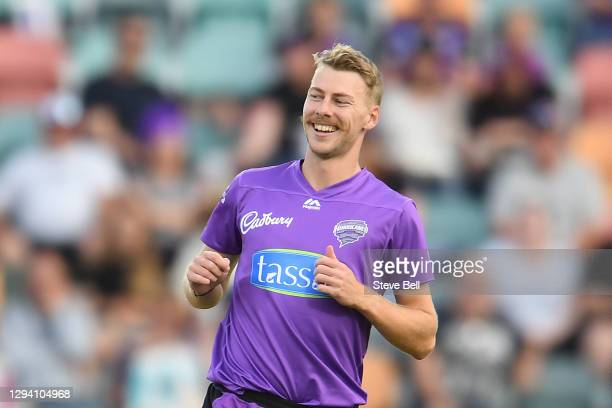 Riley Meredith of the Hurricane in action during the Big Bash League match between the Hobart Hurricanes and the Melbourne Stars at Blundstone Arena,...