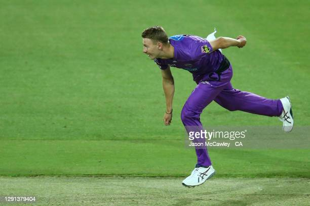 Riley Meredith of the Hurricanes bowls during the Big Bash League match between Hobart Hurricanes and Adelaide Strikers at University of Tasmania...