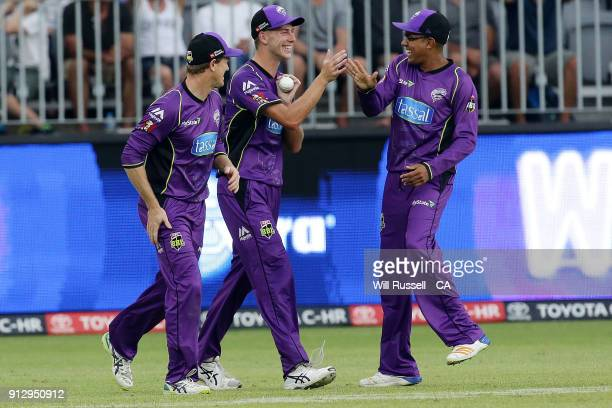 Riley Meredith of the Hurricanes celebrates after taking the wicket of Shaun Marsh of the Scorchers during the Big Bash League Semi Final match...