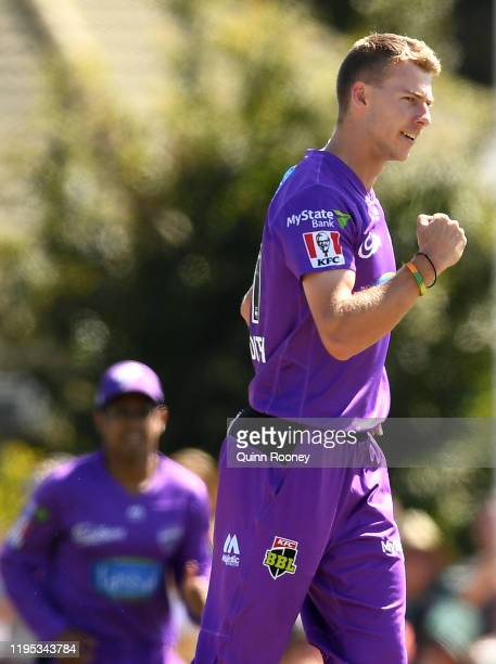 Riley Meredith of the Hurricanes celebrates getting the wicket of Peter Handscomb of the Stars during the Big Bash League match between the Melbourne...