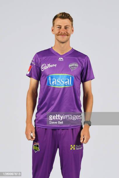 Riley Meredith poses during the Hobart Hurricanes Big Bash League headshots session at Blundstone Arena on December 08, 2020 in Hobart, Australia.