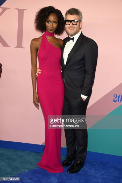 Riley Montana and fashion designer Brandon Maxwell attend the 2017 CFDA Fashion Awards at Hammerstein Ballroom on June 5 2017 in New York City