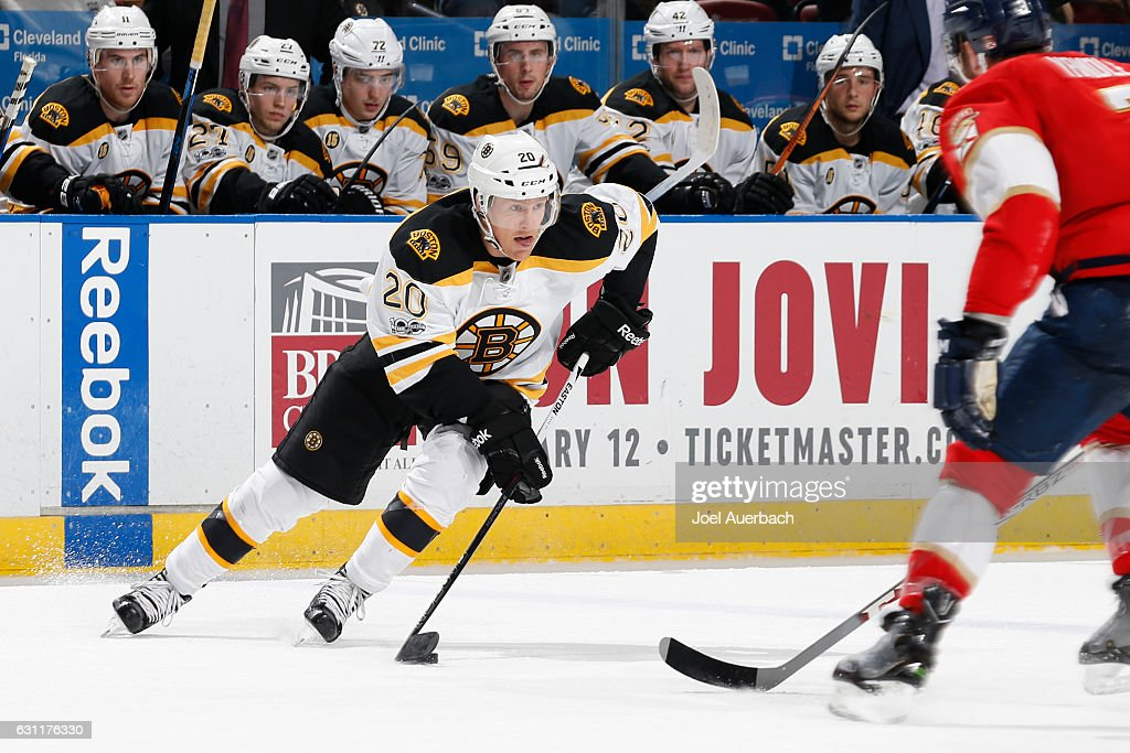 Riley Nash #20 of the Boston Bruins brings the puck up ice against the Florida Panthers during a power play at the BB&T Center on January 7, 2017 in Sunrise, Florida. The Bruins defeated the Panthers 4-0.