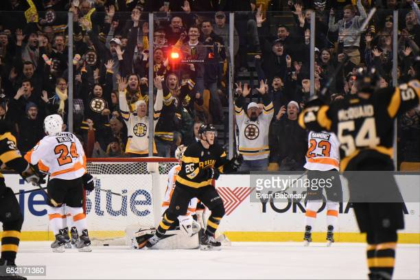 Riley Nash of the Boston Bruins celebrates a goal against the Philadelphia Flyers at the TD Garden on March 11 2017 in Boston Massachusetts