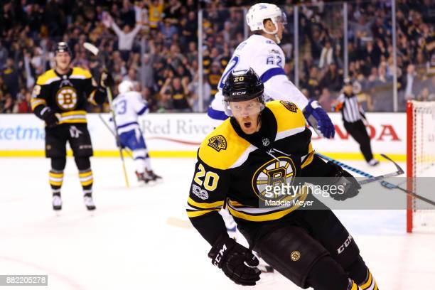 Riley Nash of the Boston Bruins reacts after scoring a goal against the Tampa Bay Lightning during the first period at TD Garden on November 29 2017...