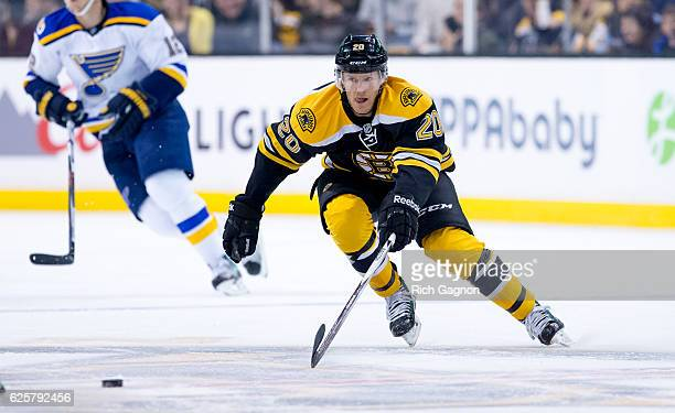 Riley Nash of the Boston Bruins skates against the St Louis Blues during the first period at TD Garden on November 22 2016 in Boston Massachusetts...