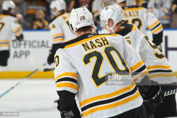 Riley Nash of the Boston Bruins skates in warmups before an NHL game against the Buffalo Sabres on February 25 2018 at KeyBank Center in Buffalo New...