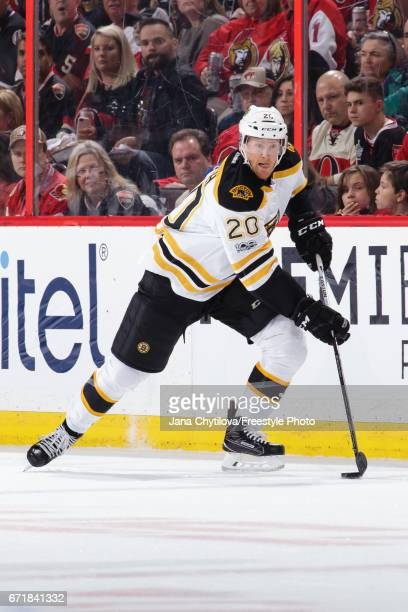 Riley Nash of the Boston Bruins skates with the puck against the Ottawa Senators in Game Five of the Eastern Conference First Round during the 2017...