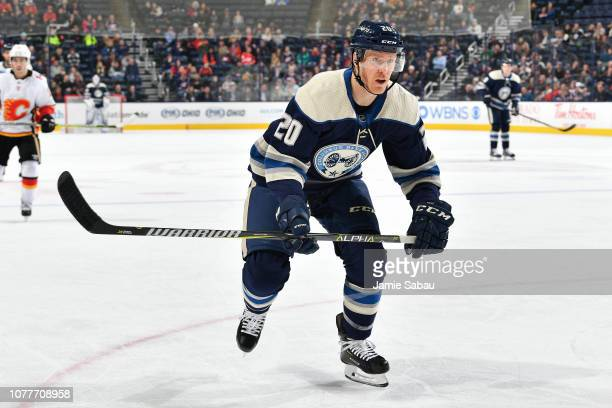 Riley Nash of the Columbus Blue Jackets skates against the Calgary Flames on December 4 2018 at Nationwide Arena in Columbus Ohio