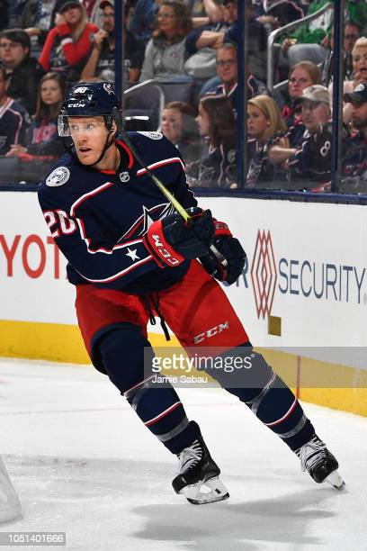 Riley Nash of the Columbus Blue Jackets skates against the Carolina Hurricanes on October 5 2018 at Nationwide Arena in Columbus Ohio