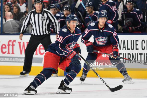 Riley Nash of the Columbus Blue Jackets skates against the Chicago Blackhawks on October 20 2018 at Nationwide Arena in Columbus Ohio Chicago...