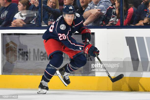 Riley Nash of the Columbus Blue Jackets skates against the Colorado Avalanche on October 9 2018 at Nationwide Arena in Columbus Ohio