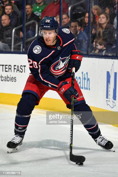 Riley Nash of the Columbus Blue Jackets skates against the Edmonton Oilers on March 2 2019 at Nationwide Arena in Columbus Ohio