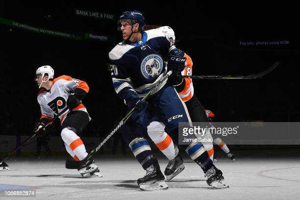 Riley Nash of the Columbus Blue Jackets skates against the Philadelphia Flyers on October 18 2018 at Nationwide Arena in Columbus Ohio