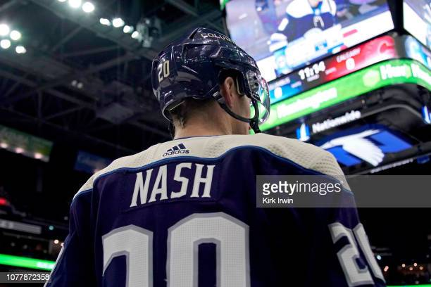 Riley Nash of the Columbus Blue Jackets warms up prior to the start of the game against the Calgary Flames on December 4 2018 at Nationwide Arena in...