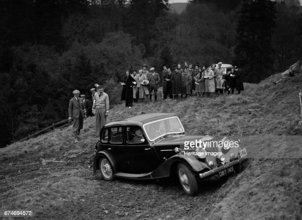 Riley of F Broomfield competing in the MCC Edinburgh Trial Roxburghshire Scotland 1938 Artist Bill Brunell