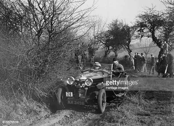 Riley of G Clifton at the Sunbac Colmore Trial near Winchcombe Gloucestershire 1934 Riley Vehicle Reg No KV3498 Event Entry No 74 Driver Clifton G...