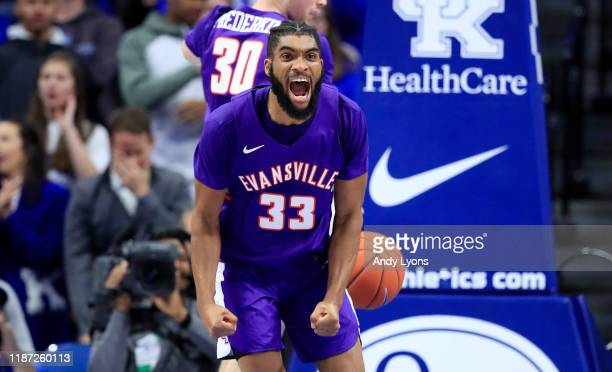 J Riley of the Evansville Aces celebrates in the 6764 win over the Kentucky Wildcats at Rupp Arena on November 12 2019 in Lexington Kentucky