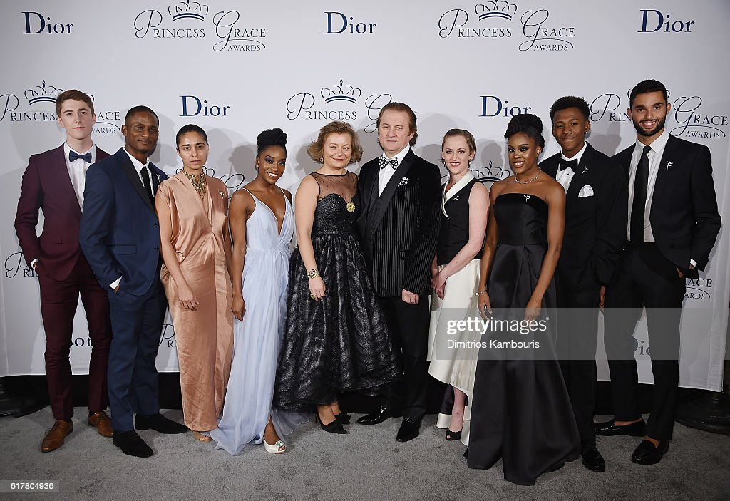 Riley O'Flynn, Jeffery Duffy, Danielle Agami, Tamisha Guy, Maria Soldier, Alex Soldier, Penny Saunders, Paige Fraser, Tyson Clark, and Marc Crousillat attend the 2016 Princess Grace Awards Gala with presenting sponsor Christian Dior Couture at Cipriani 25 Broadway on October 24, 2016 in New York City.