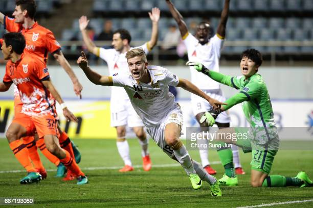 Riley Patrick Mcgree of Adelaide United celebrates after scoring a goal during the AFC Champions League Group H match between Jeju United FC and...