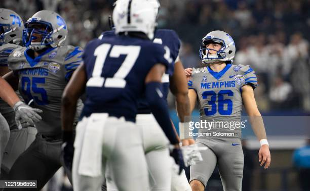 Riley Patterson of the Memphis Tigers during the Goodyear Cotton Bowl Classic at ATT Stadium on December 28 2019 in Arlington Texas