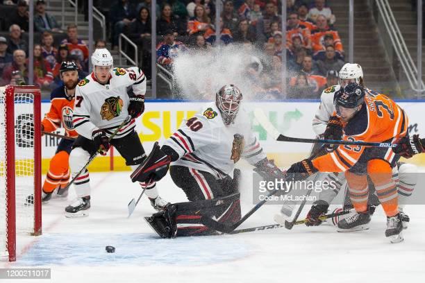 Riley Sheahan of the Edmonton Oilers scores a goal past goaltender Robin Lehner of the Chicago Blackhawks at Rogers Place on February 11 in Edmonton...