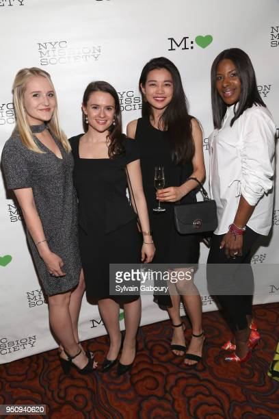 Riley Smith Katie Macdonald Kaina Lam and Nadine Burgos attend NYC Mission Society's 2018 Champions for Children gala on April 24 2018 in New York...