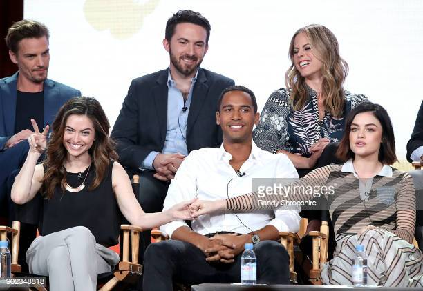 Riley Smith Richard Keith Erin Cardillo Brooke Lyons Elliot Knight and Lucy Hale of the television show 'Life Sentence' speak on stage during the CW...