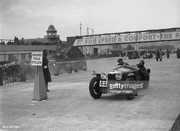 Riley Sprite competing in the JCC Rally Brooklands Surrey 1939 Artist Bill BrunellRiley Sprite 1496 cc Vehicle Reg No AKV218 Event Entry No 82...