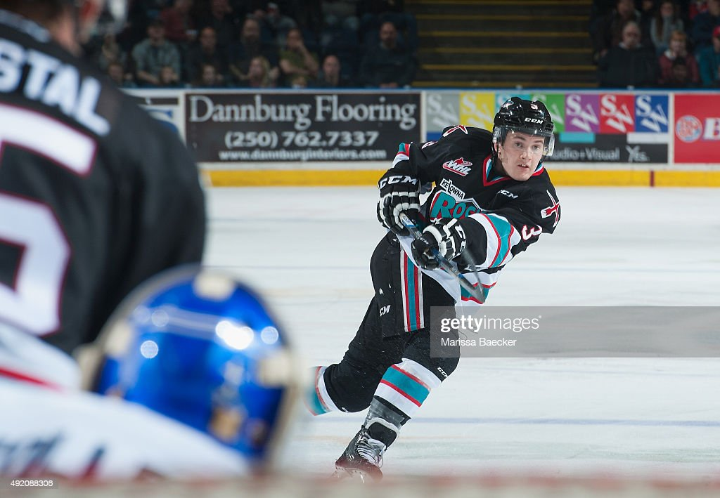 Riley Stadel #3 of Kelowna Rockets takes a shot on net against the Victoria Royals on OCTOBER 9, 2015 at Prospera Place in Kelowna, British Columbia, Canada.