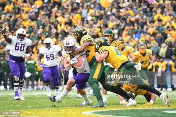 Riley Stapleton of the James Madison Dukes scores a first quarter touchdown against the North Dakota State Bison during the Division I FCS Football...