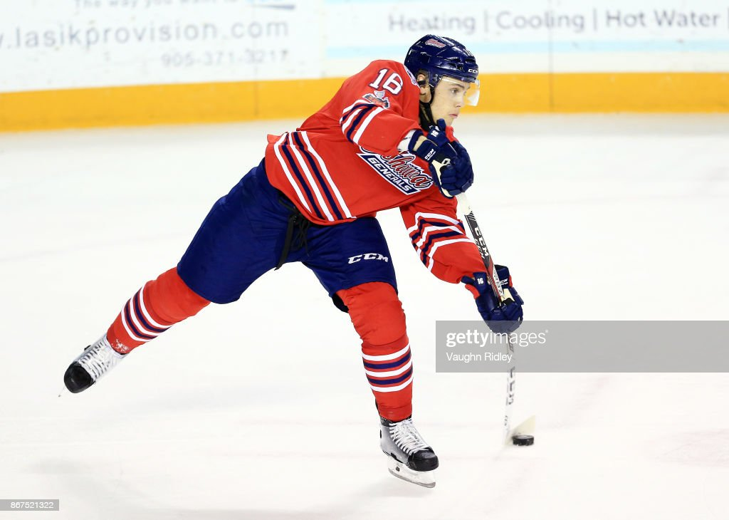 Riley Stillman #16 of the Oshawa Generals passes the puck during an OHL game against the Niagara IceDogs at the Meridian Centre on October 26, 2017 in St Catharines, Ontario, Canada.