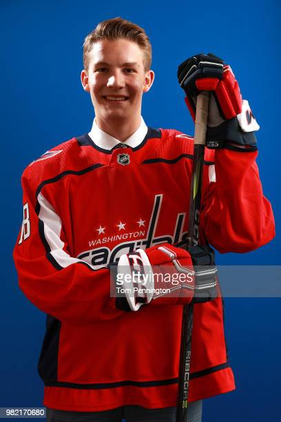 Riley Sutter poses after being selected 93rd overall by the Washington Capitals during the 2018 NHL Draft at American Airlines Center on June 23 2018...