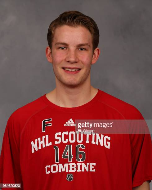Riley Sutter poses for a headshot at the NHL Scouting Combine on May 31 2018 at HarborCenter in Buffalo New York
