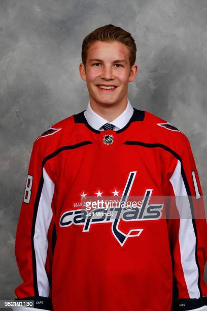 Riley Sutter poses for a portrait after being selected 93rd overall by the Washington Capitals during the 2018 NHL Draft at American Airlines Center...