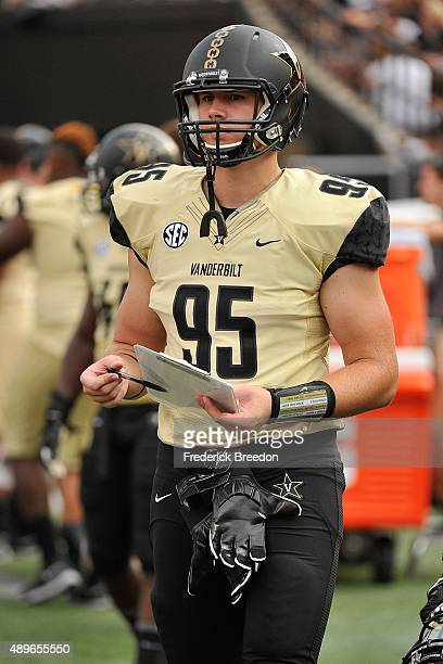 Riley Tindol of the Vanderbilt Commodores watches from the sideline during a game against the Austin Peay Governors at Vanderbilt Stadium on...