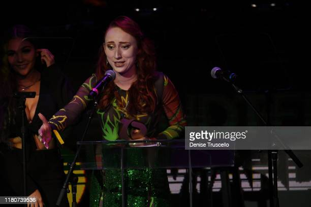 Riley Travers from 805 Beach BreaksGrover Beach CA wins the Spotlight award at the First Budtender Awards at Light Nightclub at Mandalay Bay Hotel...