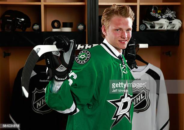 Riley Tufte selected 25th overall by the Dallas Stars poses for a portrait during round one of the 2016 NHL Draft at First Niagara Center on June 24...