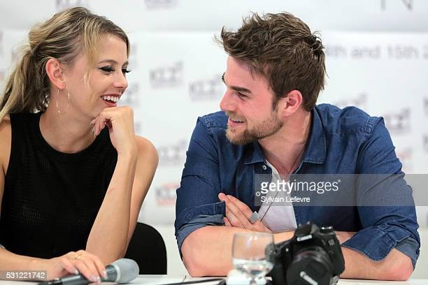 Riley Voelkel and Nathaniel Buzolic attend The Vampire Diaries The Originals Press Conference for the Bloody Night Convention on May 13 2016 in...
