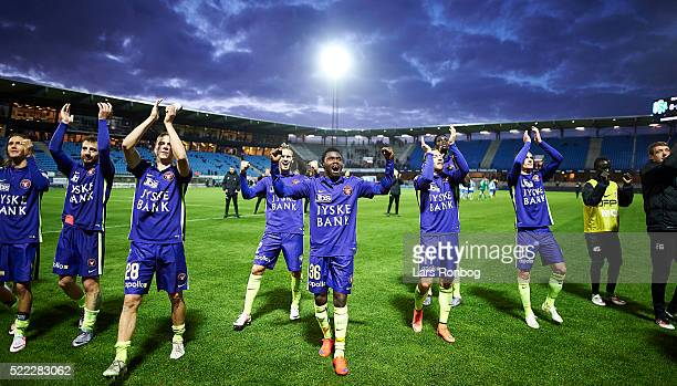 Rilwan Hassan and his team mates celebrate after the Danish Alka Superliga match between Esbjerg fB and FC Midtjylland at Blue Water Arena on April...