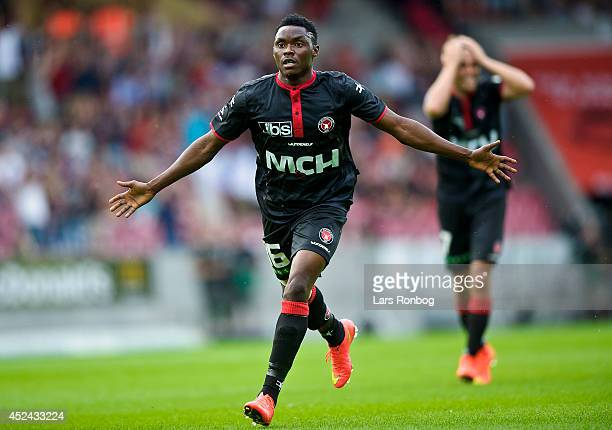Rilwan Hassan of FC Midtjylland celebrates after scoring their first goal during the Danish Superliga match between FC Midtjylland and Brondby IF at...