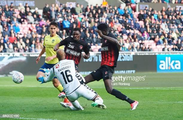 Rilwan Hassan of FC Midtjylland scores the 20 goal against Goalkeeper Adam Kwarasey of Brondby IF during the Danish Alka Superliga match between FC...