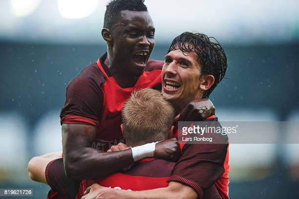Rilwan Hassan Rasmus Nissen and Gustav Wikheim of FC Midtjylland celebrate after scoring their first goal during the UEFA Europa League Qualification...