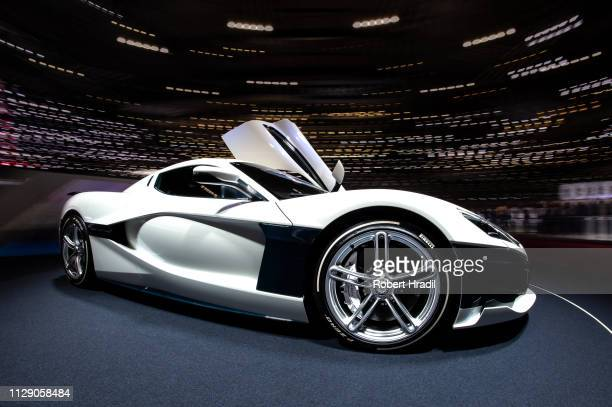 Rimac C Two is displayed during the second press day at the 89th Geneva International Motor Show on March 6, 2019 in Geneva, Switzerland.